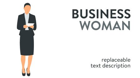Vector illustration of a successful and beautiful business woman in a suit standing with documents in her hands. Poster with text placeholder and description
