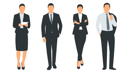 Set of vector illustration of a group of successful and beautiful businesswomen and businessmen standing in a suit. Poster with text placeholder and description