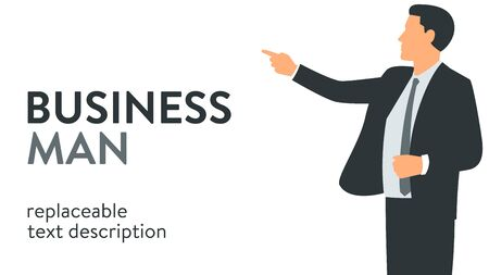Vector illustration of a businessman in a suit giving a presentation and pointing to something. Poster with text placeholder and description