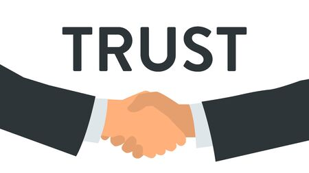 Vector illustration of a handshake close up with a background word TRUST. Poster with text placeholder and description