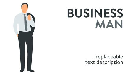 Vector illustration of a successful businessman in a suit standing with hand in the pocket. Poster with text placeholder and description Illusztráció