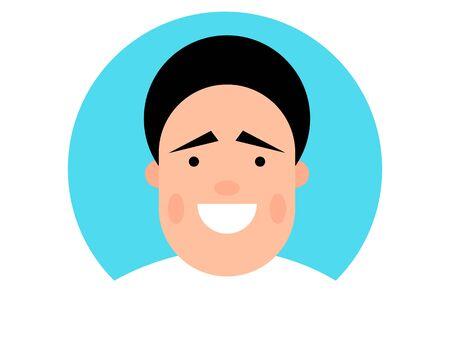 Vector colorful illustration of a happy and smiling young man Illusztráció