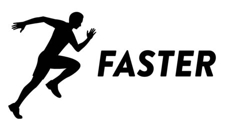 Vector drawn icon of a running man. Silhouette of a young sportive man running fast Illusztráció