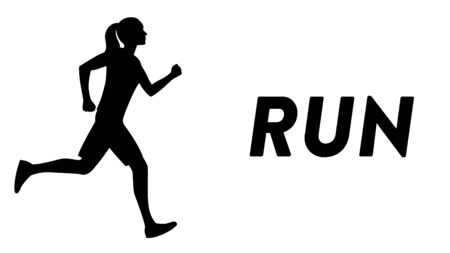 Vector drawn icon of a girl running with a text headline. Black silhouette of a sportive girl