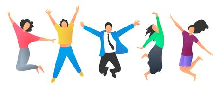 Vector illustration of a group of happy young people jumping and dancing. Set of icons of happy men and women