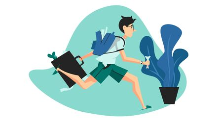 Vector colorful illustration of a young man in hurry running to school or job. Boy with a backpack and a briefcase late for school Vector Illustration