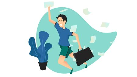 Vector colorful illustration of a young man running in a hurry with a briefcase in a messy room. Student late for classes