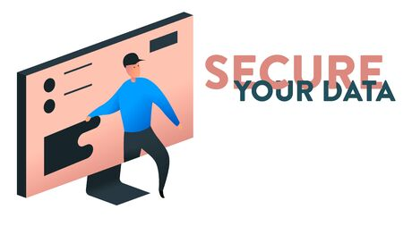 Modern vector illustration of a computer screen with data and a person trying to steel it. On the right side there is a replaceable text headline: Secure Your Data
