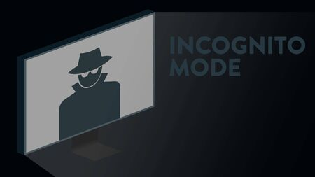 Vector illustration of a computer screen in an incognito mode with an icon and text headline