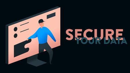 Modern colorful vector illustration of a computer screen with data and a person trying to steel it. On the right side there is a replaceable text headline: Secure Your Data
