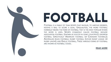 Graphic banner with vector icon of a man playing football and text headline and description