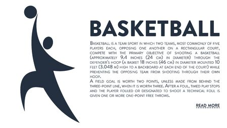 Modern vector banner with an icon of a basketball player and text headline and description