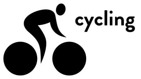 Vector icon of a cyclist on a bike. Cycling icon Illusztráció