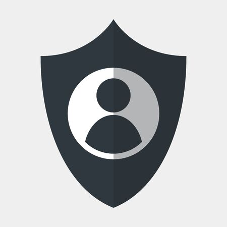 Vector icon made of shield and ID picture of a person. It represents identity security and data protection