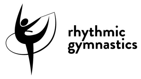 Vector banner with an icon of a girl doing rhythmic gymnastics with a Ribbon with text headline