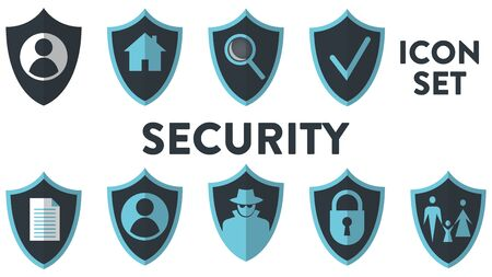 Set of security vector icons. Each of nine icons has a shield on the background