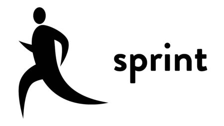 Vector banner with an icon of a sprint runner with text headline