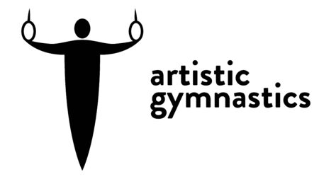 Vector banner with an icon of a gymnast doing exercises with rings with text headline. Modern flat artistic gymnastics icon, pictogram Illusztráció