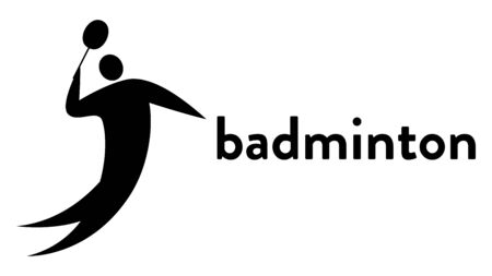 Vector banner with an icon of a badminton player hitting the shuttlecock with a racket in his hand with text headline. Modern flat badminton sport icon, pictogram