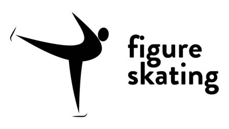 Vector banner with an icon of a figure skater gliding in an ice rink with text headline. Modern flat figure skating sport icon, pictogram