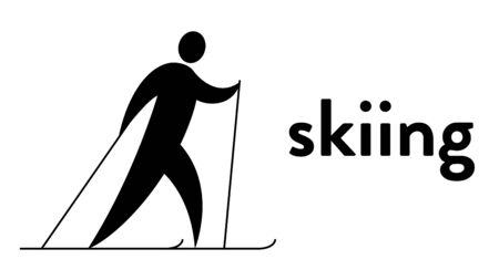 Vector banner with an icon of a skier with sticks in his hands with text headline. Modern flat skiing icon, pictogram Illusztráció