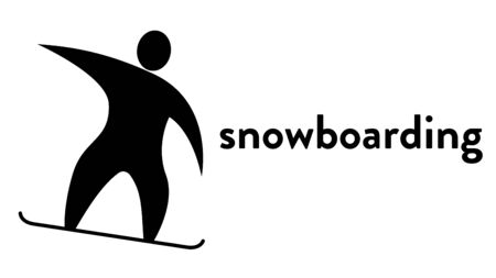 Vector banner with an icon of a snowboarder going downhill with text headline. Modern flat snowboarding sport icon, pictogram