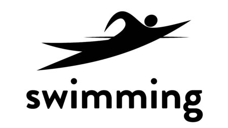 Vector banner with an icon of a swimmer in the water with text headline. Modern flat swimming sport icon, pictogram