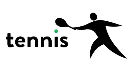 Vector banner with an icon of a tennis player hitting the ball with a racket in his hand with text headline. Modern flat tennis sport icon, pictogram