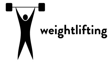Vector banner with an icon of a strong muscular weightlifter lifting the barbell over his head with text headline. Modern flat weightlifting icon, pictogram