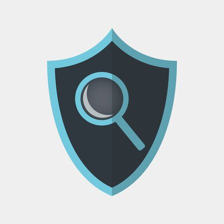 Vector colorful icon made of shield and search magnifier tool icon on it. It represents identity security and safe online search on the internet Illusztráció