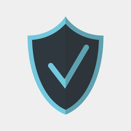 Vector colorful icon made of shield and check mark on it. It represents identity security and data protection