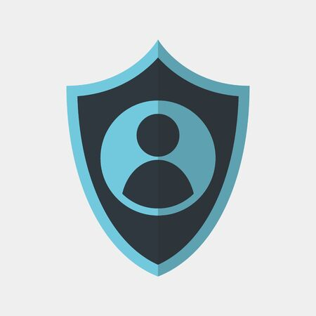 Vector colorful icon made of shield and ID picture of a person. It represents identity security and data protection