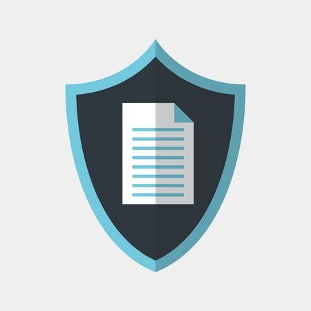 Vector colorful icon made of shield and illustration of a paper document on it. It represents data protection for secret documents Illusztráció