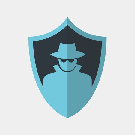 Vector colorful icon made of shield and illustration of a spy in hat and glasses on it. It represents data protection and privacy in an incognito mode