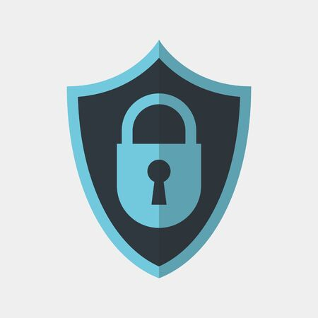 Vector colorful icon made of shield and icon of closed lock. It represents identity security and data protection