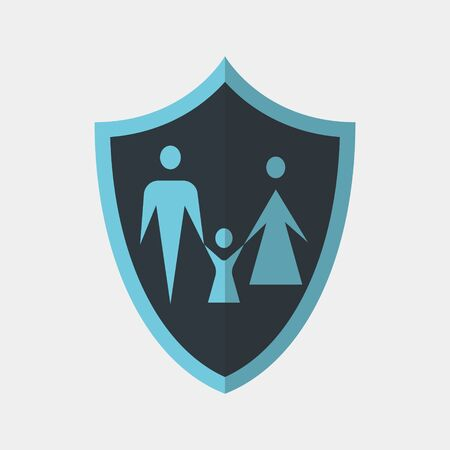 Vector icon made of shield and illustration of a family on it. It represents identity security and data protection for families and family members