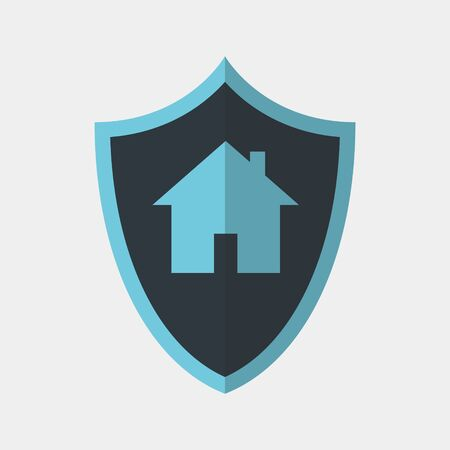 Vector icon made of shield and home picture on it. It represents home protection and safety