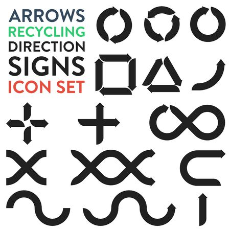 Vector icons with arrows for recycling, direction, signs, sign plates and more Illusztráció