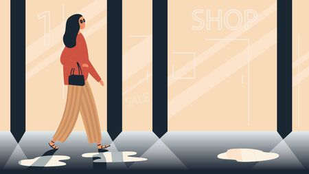 Vector colorful illustration of a stylish girl walking down the street in the evening through fashion store and boutique