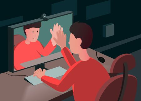 Vector colorful illustration of a man sitting at the desk and watching his reflection in the monitor