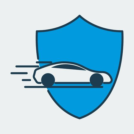 Vector colorful icon made of shield and illustration of a racing car on it. It represents car insurance and car road safety