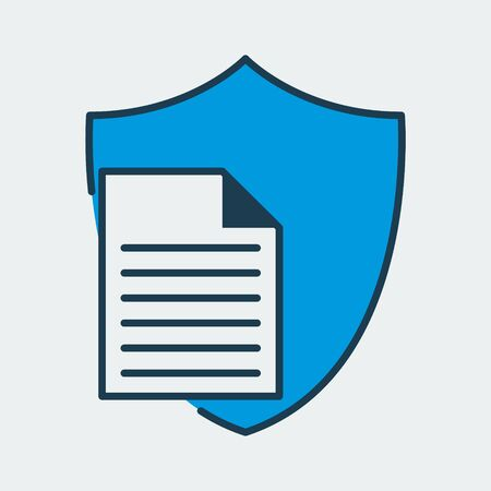 Vector colorful icon made of shield and illustration of a paper document on it. It represents data protection for secret documents Ilustração