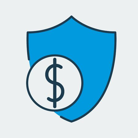 Vector colorful icon made of shield and illustration of a dollar coin on it. It represents business protection and financial security