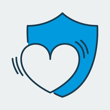 Vector colorful icon made of shield and illustration of heart on it. It represents safety and care in relationships or health protection