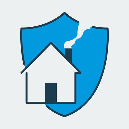 Vector colorful icon made of shield and home picture on it. It represents home protection and safety