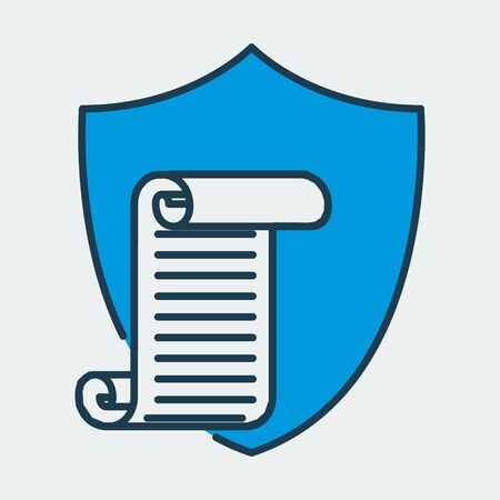 Vector colorful icon made of shield and illustration of a scroll paper with a list on it. It represents data protection for secret documents