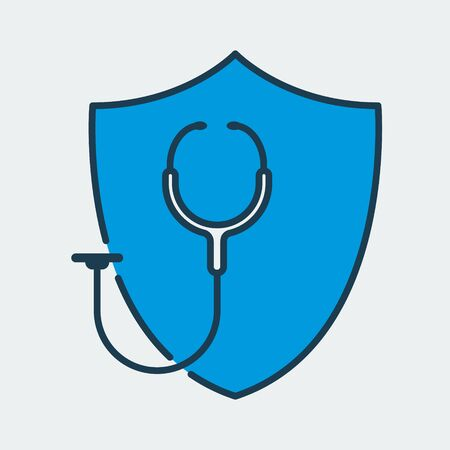 Vector colorful icon made of shield and illustration of a medical stethoscope on it. It represents medical insurance and health protection Ilustração