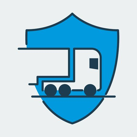 Vector colorful icon made of shield and illustration of a truck on it. It represents transportation and reliable cargo delivery Ilustração