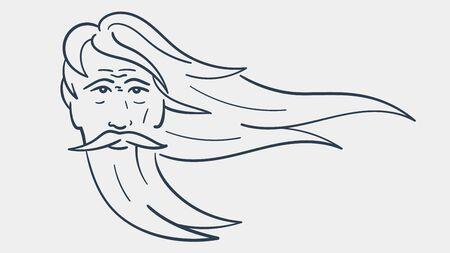 Vector outlined illustration of a wise elder bearded man. Outlined portrait of a guru