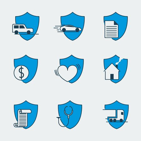 Icon set with nine shield icons for different protection issues: medical insurance, reliable cargo delivery, financial security, data protection, home safety